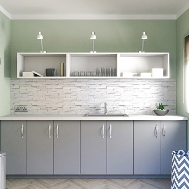 Grey and white utility room units