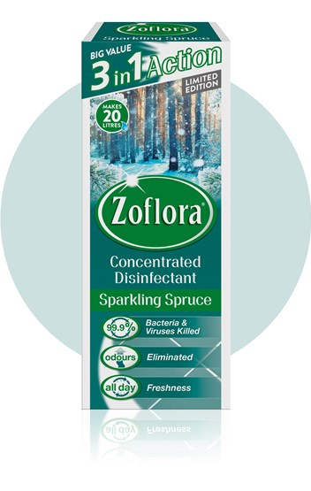Zoflora Sparkling Spruce Multipurpose Disinfectant Packaging