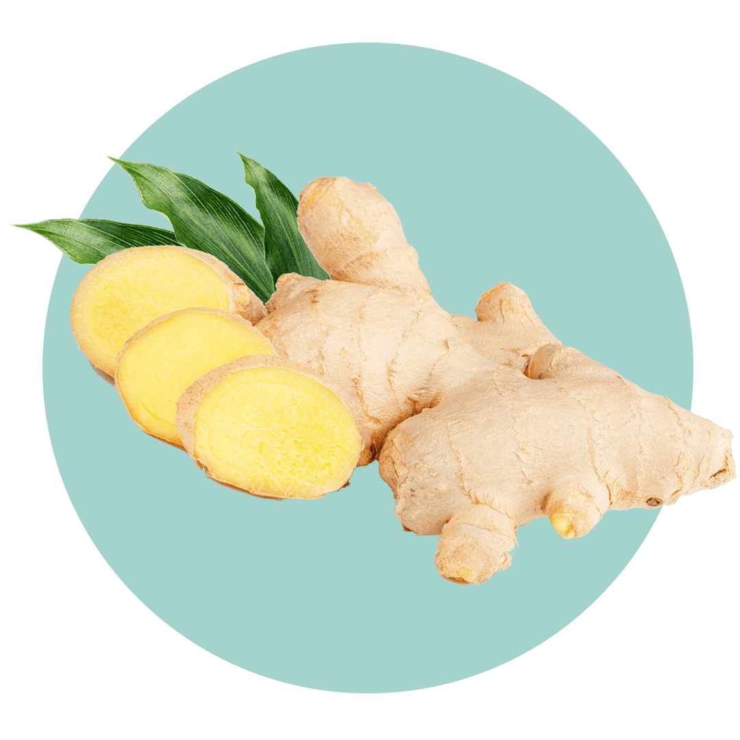 Ginger root next to slices of ginger